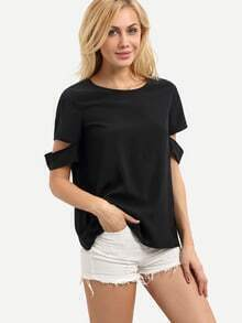 Black Short Sleeve Cut Away Casual Blouse