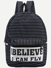 Letter Print Striped Canvas Backpack - Black