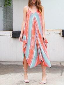 Multicolor Sleeveless Backless Asymmetrical Shift Dress