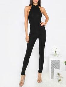 Black Sleeveless Backless Jumpsuit
