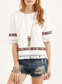 White Vintage Embroidered Fringe Half Sleeve Blouse
