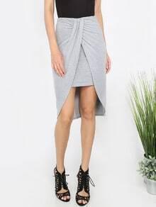Grey Pleated Asymmetrical Skirt