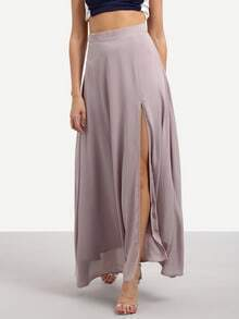Purple Split Chiffon Maxi Skirt