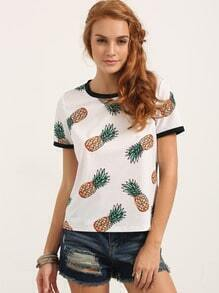 Multicolor Short Sleeve Fruit Print T-shirt