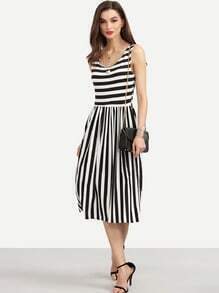 Black White Mixed Stripe Pleated Dress