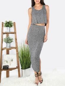 Grey Sleeveless Top With Split Midi Skirt