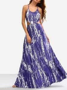 Blue Tie Dye Print Cutout Maxi Dress
