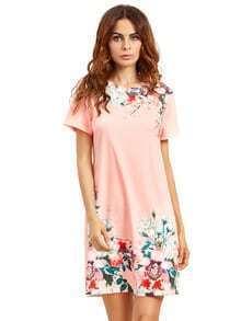 Pink Round Neck Floral Print Vintage Dress