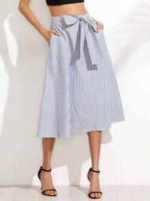 Blue Striped Pocket Tie Waist Midi Skirt