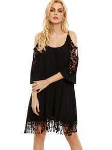 Black Open Shoulder Crochet Lace Sleeve Tassel Dress