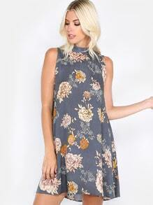 Floral High Neck Sleeveless Dress NAVY