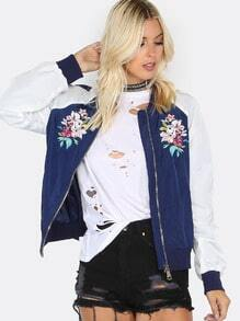 Floral Embroidered Bomber Jacket NAVY