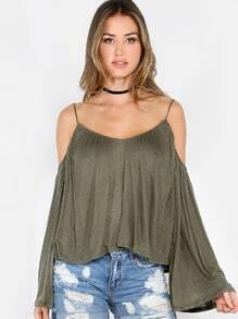 Bell Sleeve Cold Shoulder Top OLIVE
