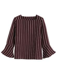 Burgundy Vertical Striped Bell Sleeve Blouse