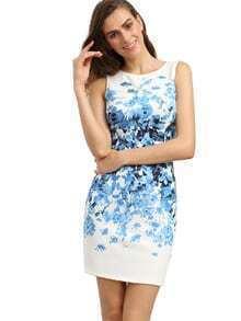 Blue Sleeveless Vintage Print Dress