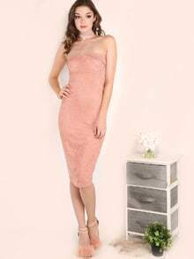Suede Strapless Bustier Dress PINK