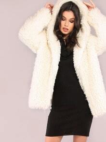 White Zip Up Faux Fur Coat