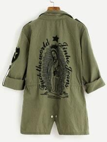 Army Green Printed Back Drawstring Waist Utility Coat