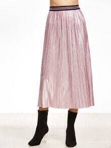 Pink Contrast Band Waist Straight Skirt