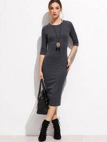 Heather Grey Half Sleeve Casual Midi Dress