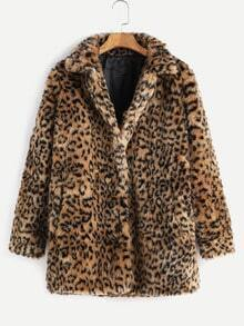 Leopard Button Up Faux Fur Coat