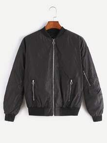 Black Zip Up Bomber Jacket With Arm Pocket
