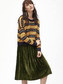 Multicolor Tribal Pattern Dolman Sleeve Sweater