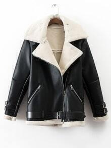 Black Lapel Oblique Zipper Faux Shearling Coat With Belt