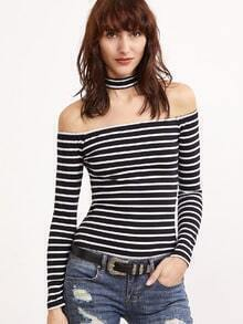 Black And White Striped Off The Shoulder T-shirt With Choker