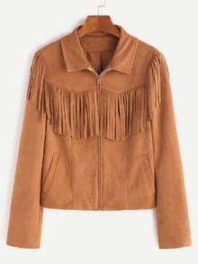 Camel Faux Suede Zip Up Fringe Jacket