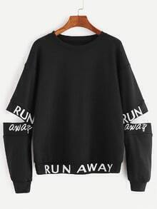 Black Letter Print Open Elbow Sweatshirt