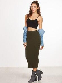 Olive Green Ribbed Knit Pencil Skirt