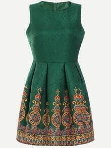 Green Vintage Print Box Pleated Jacquard Dress