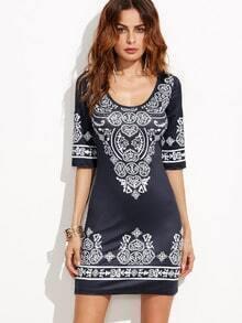 Black Vintage Print Bodycon Dress