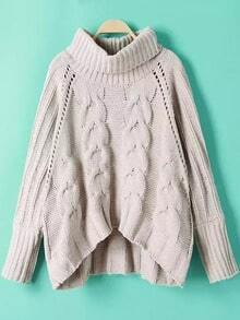 Cable Knit Turtleneck Raglan Sleeve Asymmetrical Sweater