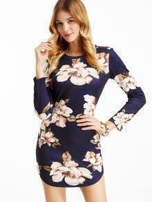 Navy Flower Print Curved Hem Dress