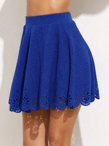 Royal Blue Laser Cutout Scallop Hem Textured Skirt