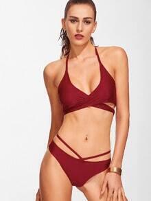 Burgundy Cross Front Halter Sexy Bikini Set