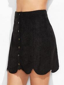 Black Suede Button Up Scallop Panel Skirt