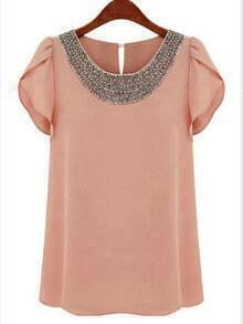 Pink Round Neck With Bead Chiffon Blouse
