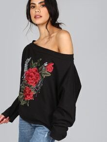Embroidered Floral Bardot Pullover BLACK MULTI