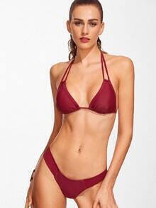 Burgundy Halter Sexy Bikini Set