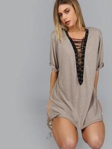 Khaki Contrast Lace Up Deep V Neck Tee Dress