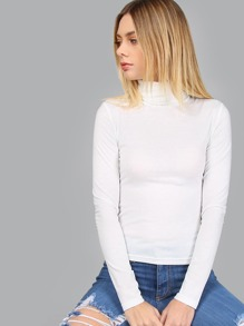 White Turtleneck Long Sleeve Slim Fit T-shirt