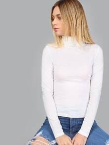 White Turtleneck Long Sleeve Slim Fit T-shirt