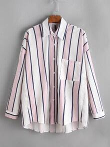 Contrast Striped Drop Shoulder Pocket Shirt