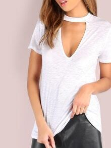 Deep V Short Sleeve Tee WHITE
