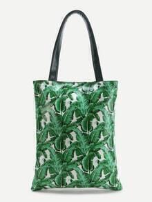 Green Leaf Print Tote Bag