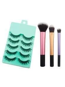 Color Block Brush Set With False Eyelashes