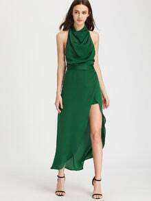 Green Cowl Neck Halter High Low Romper Dress
